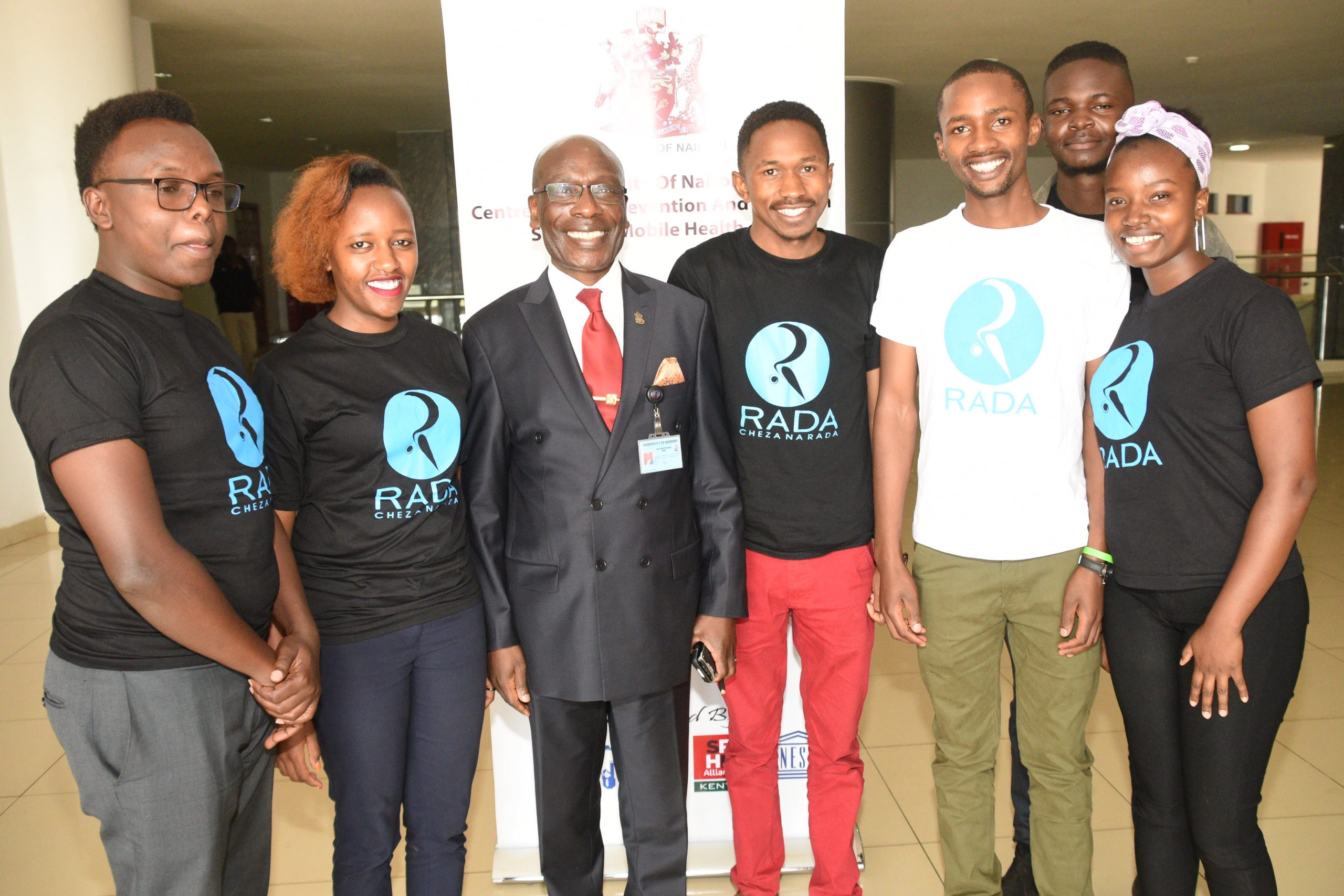 DVC AA Prof. Ogeng'o with the UoN students who developed the RADA App
